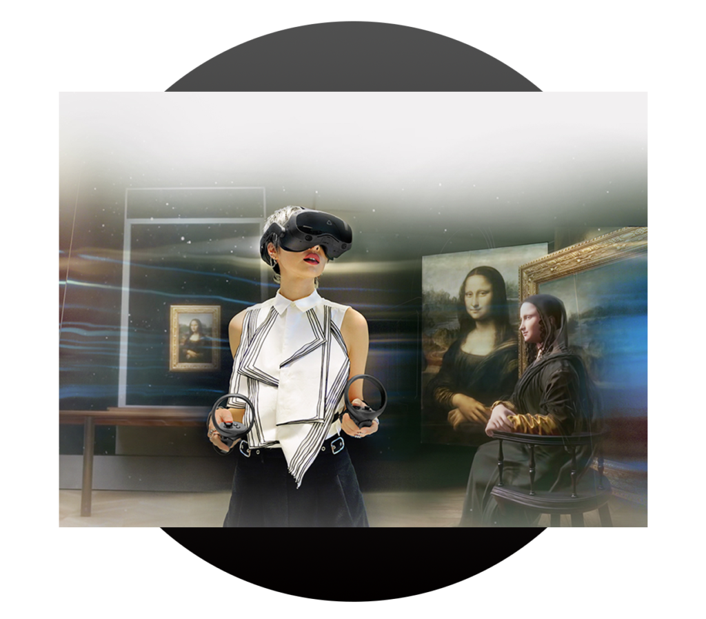 Woman wearing VR headset with Mona Lisa and other artwork behind her